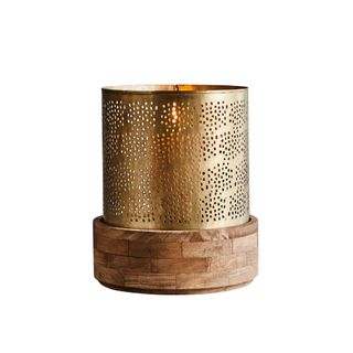 Siena Large - Antique Brass - Perforated Iron and Wood Hurricane Lamp