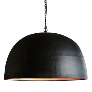 Noir Large - Black With Copper Interior - Extra Large Iron Dome Pendant Light