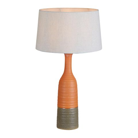 Potters Small Table Base Only - Orange/Brown - Tall Thin Glazed Ceramic Table Lamp Base Only
