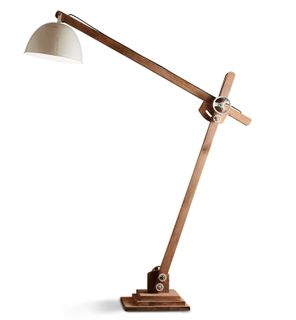Archie - Natural and White - Iron and Wood Articulated Floor Lamp
