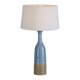 Potters Small Table Base Only - Blue/Brown - Tall Thin Glazed Ceramic Table Lamp Base Only