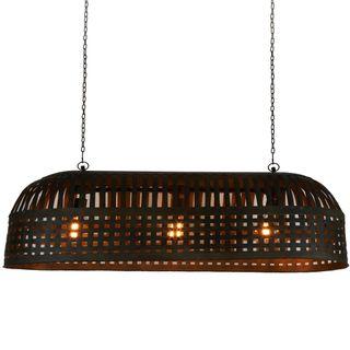 Esch Extra Long - Antique Black - Woven Iron Strips Elongated Pendant Light
