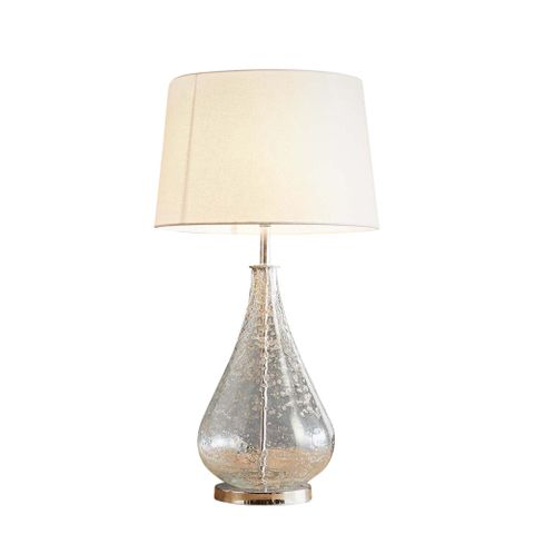 Lustre Teardrop Table Base Only - Clear - Stone Effect Glass Teardrop Table Lamp Base Only