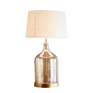 Lustre Flagon Table Base Only - Pale Gold - Stone Effect Glass Flagon Table Lamp Base Only