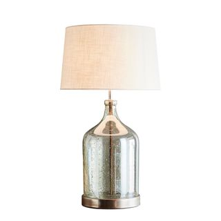 Lustre Flagon Table Base Only - Pale Green - Stone Effect Glass Flagon Table Lamp Base Only
