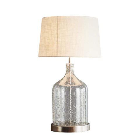 Lustre Flagon Table Base Only - Clear - Stone Effect Glass Flagon Table Lamp Base Only