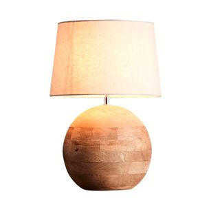 Boule Small Base Only - Natural - Turned Wood Ball Table Lamp Base Only