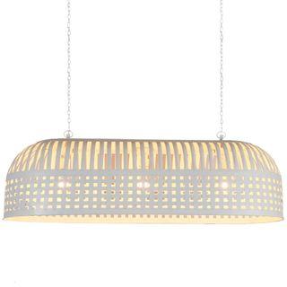 Esch Extra Long - White - Woven Iron Strips Elongated Pendant Light