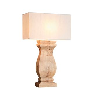 George Base Only - Natural - Rectangular Wood Ballister Table Lamp Base Only