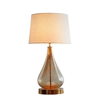 Lustre Teardrop Table Base Only - Pale Gold - Stone Effect Glass Teardrop Table Lamp Base Only