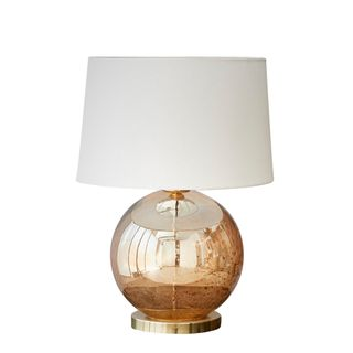 Lustre Ball Table Base Only - Pale Gold - Stone Effect Glass Ball Table Lamp Base Only