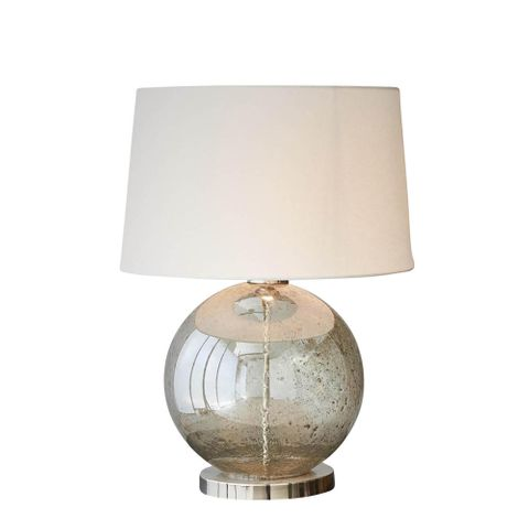 Lustre Ball Table Base Only - Pale Green - Stone Effect Glass Ball Table Lamp Base Only