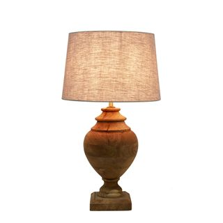 Amphora Small Base Only - Dark Natural - Turned Wood Urn Table Lamp Base Only