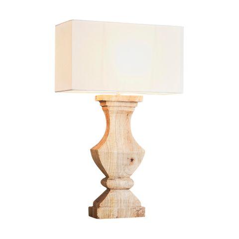 Gilbert Base Only - Natural - Rectangular Wood Ballister Table Lamp Base Only