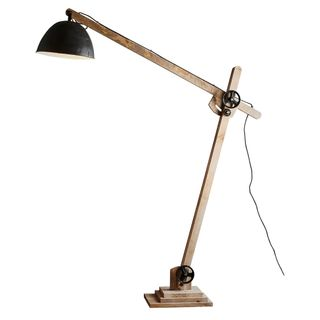 Archie - Natural and Black - Iron and Wood Articulated Floor Lamp