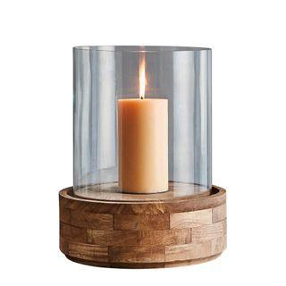 Amalfi Large - Dark Natural/Clear Glass - Glass and Wood Hurricane Lamp