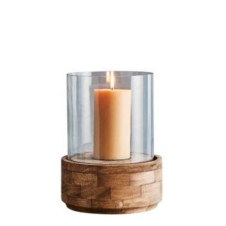 Amalfi Small - Dark Natural/Clear Glass - Glass and Wood Hurricane Lamp