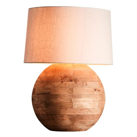 Boule Large Base Only - Natural - Turned Wood Ball Table Lamp Base Only