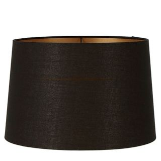 Linen Drum Lamp Shade XXL Black with Gold Lining