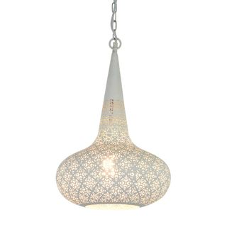 Triton Perforated Conical Pendant Light White
