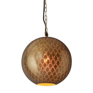 Mamba Perforated Round Pendant Light Brass