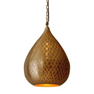 Taipan - Brass - Perforated Teardrop Pendant Light