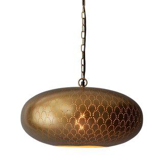 Viper Perforated Ellipse Pendant Light Brass