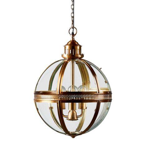 Saxon Pendant Lamp Med Antique Brass
