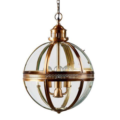 Saxon Pendant Lamp Lge Antique Brass