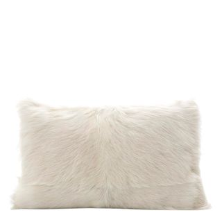 Petra Goat Fur Cushion Rectangle White