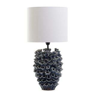 Londolozi - Blue- Glazed Coral Ceramic Table Lamp with White Cylinder Shade