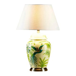 Caribbean - Green/Yellow - Glazed Bird Painting Ceramic and Metal Urn Table Lamp Base Only