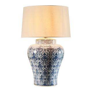 Churchill Table Lamp Base Blue/White