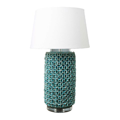 Wynberg - Turquoise - Glazed Ceramic and Acrylic Cylinder Table Lamp Base Only