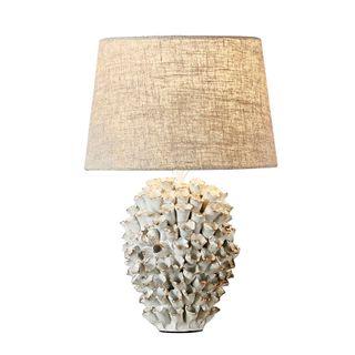 Londolozi Ceramic Table Lamp with Linen Shade Cream