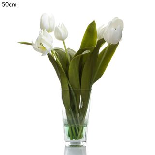 Tulips in Glass Vase 50cm - White