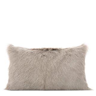 Petra Goat Fur Cushion Rectangle Grey