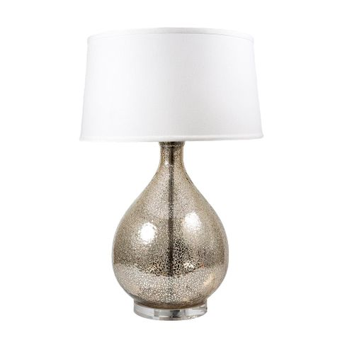 Halifax Table Lamp with Linen Shade Silver