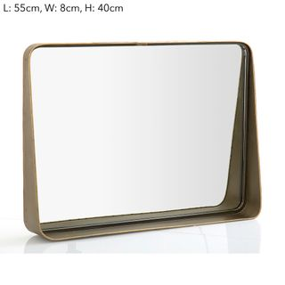 Maharani Lge Brass Table Mirror w/ledge