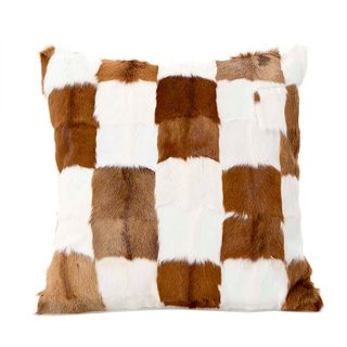 Petra Patchwork Cushion Brown & White