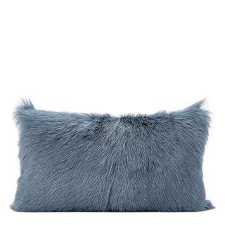 Petra Goat Fur Cushion Rectangle Blue Grey