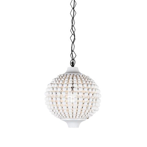 Kasbah white beaded hanging lamp