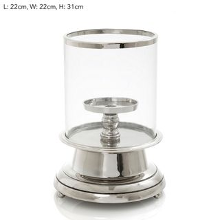 Hurricane W/Candle Pillar Sml Silver