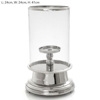 Hurricane W/Candle Pillar Silver