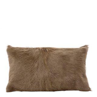 Petra Goat Fur Cushion Rectangle Beige
