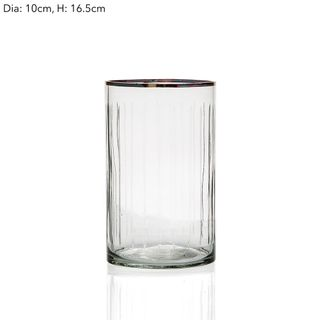 Line Cut Glass Hurricane Sml