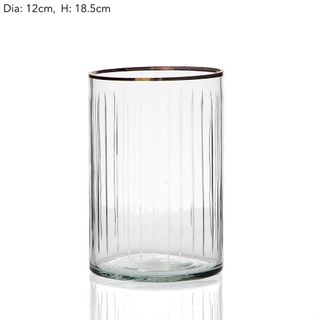 Line Cut Glass Hurricane Med
