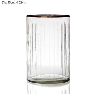 Line Cut Glass Hurricane Lge