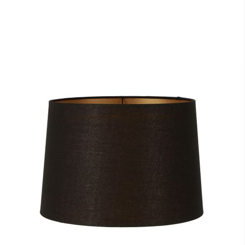 Medium Drum Lamp Shade (14x12x9.5 H) - Black with Gold Lining - Linen Lamp Shade with E27 Fixture