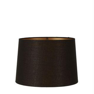 Linen Drum Lamp Shade Medium Black with Gold Lining